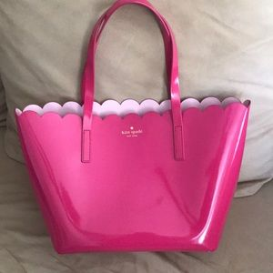 Pink scalloped edge Kate spade patent leather tote